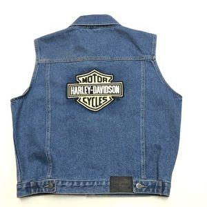Harley Davidson Denim Jean Vest Big Logo Size XL